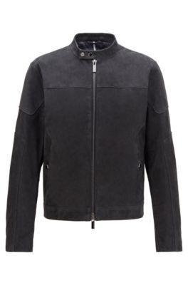 Hoodie Jet Black Wool Body /& Leather Arms New Stylish Fashionable GREY Brand