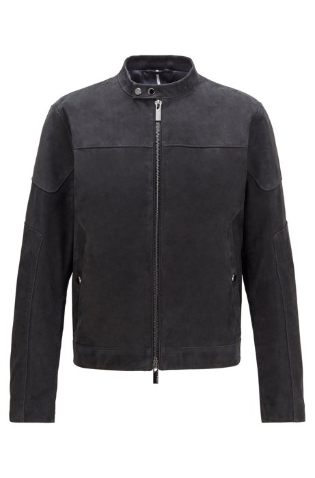 Blouson jacket in nubuck leather, Dark Blue