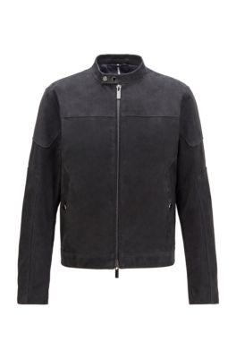 Blouson jacket in nubuck leather, Dark Blue