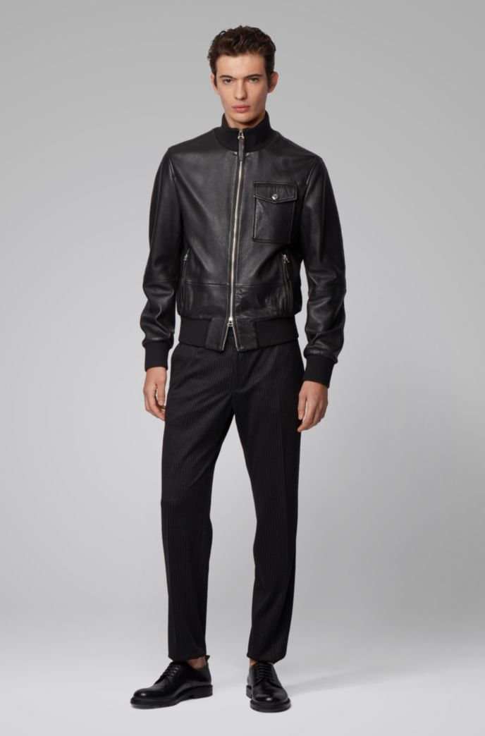Bomber jacket in grained nappa leather with knitted trims