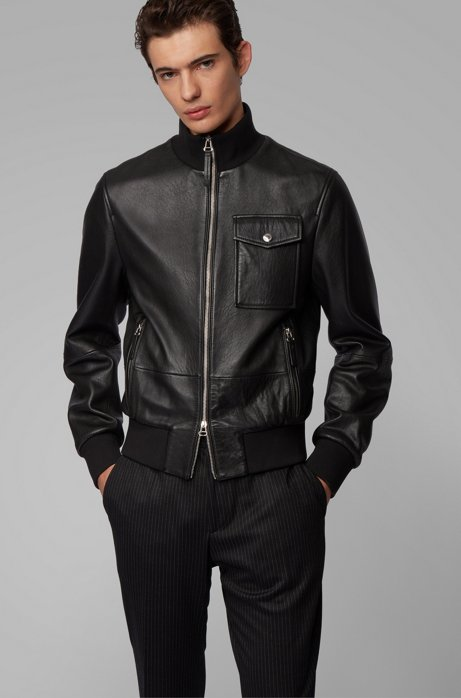 Bomber jacket in grained nappa leather with knitted trims, Black