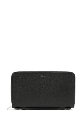 Portefeuille de voyage Signature Collection en cuir embossé, Noir