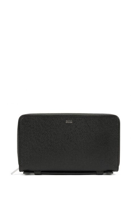Signature Collection travel wallet in embossed leather, Black