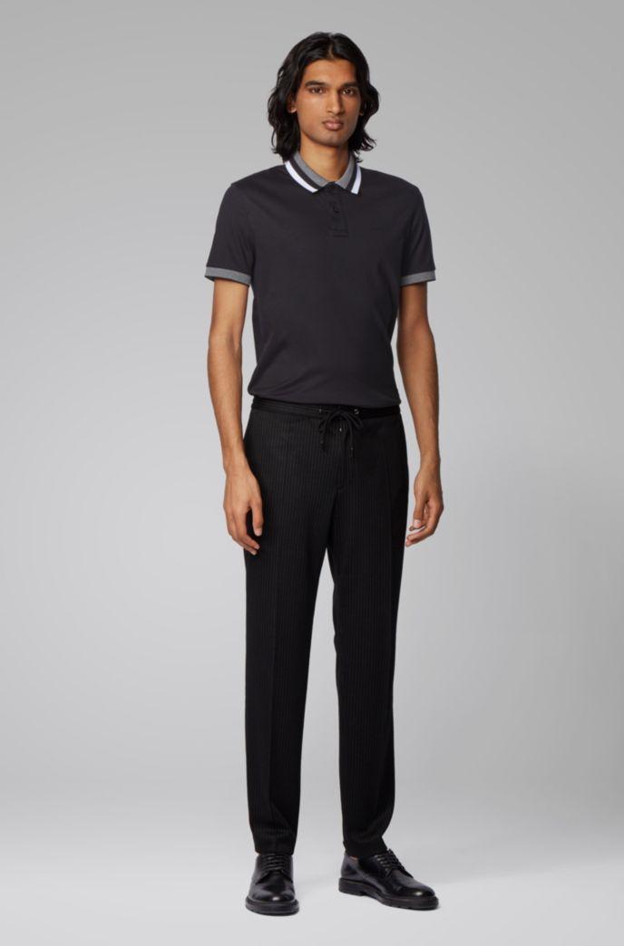 Poloshirt aus Baumwolle mit gestreiftem Kragen