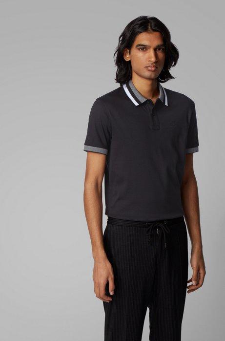 Poloshirt aus Baumwolle mit gestreiftem Kragen, Schwarz