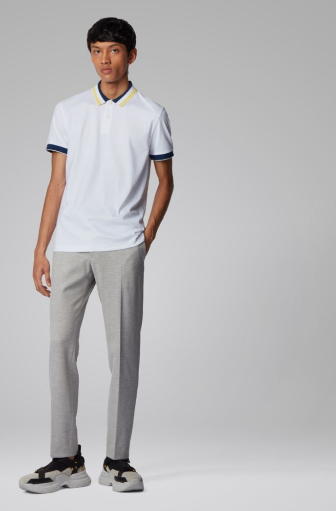Slim-fit polo shirt in cotton with striped collar