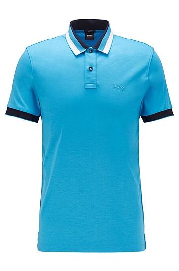 男士棉质条纹领修身版 polo 衫,  448_水蓝色
