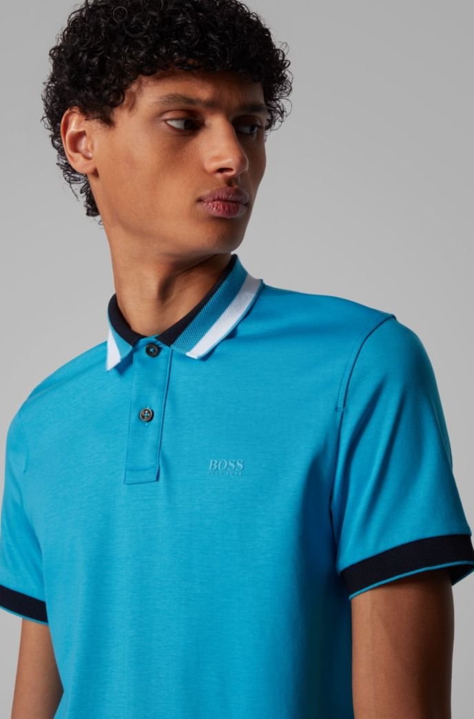 Polo Slim Fit en coton à col rayé
