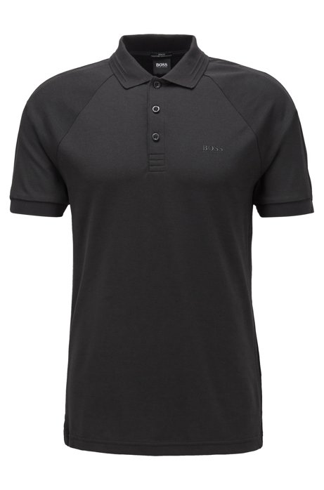 Slim-fit polo shirt in stretch-piqué with S.Café®, Black
