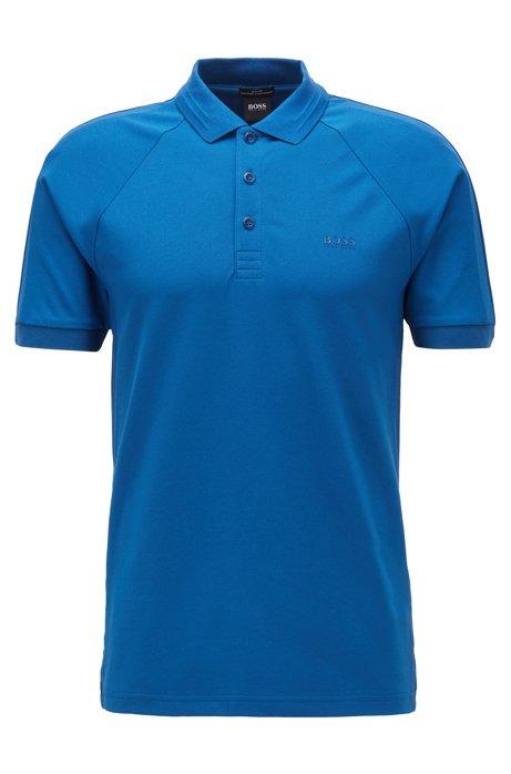 Polo Slim Fit en piqué stretch, avec fibre S.Café®, Bleu