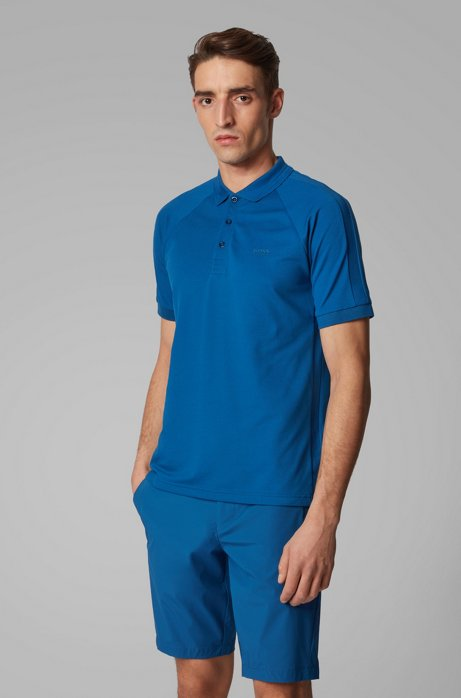 Slim-fit polo shirt in stretch-piqué with S.Café®, Blue