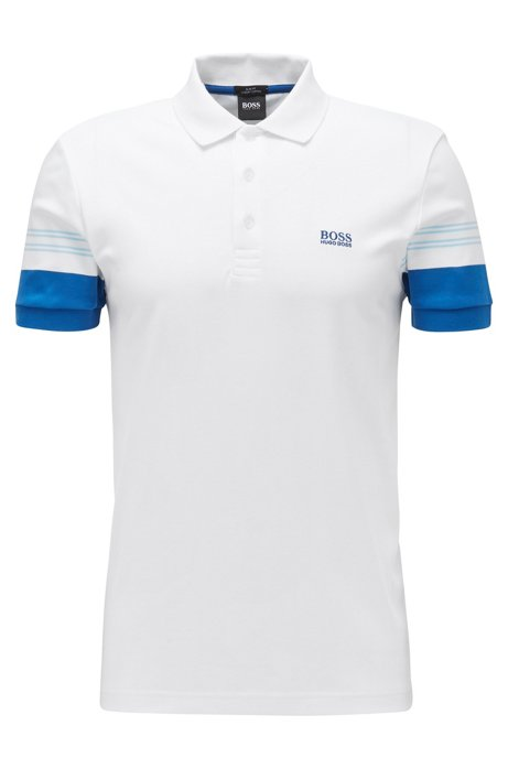 Polo slim fit con rayas integradas en las mangas, Blanco