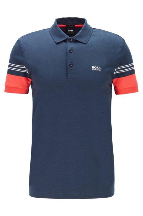 Polo Slim Fit avec manches ornées de rayures techniques, Bleu foncé