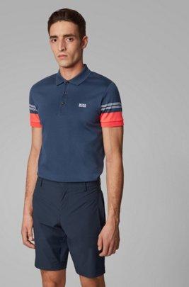 Slim-fit polo shirt with engineered-stripe sleeves, Dark Blue