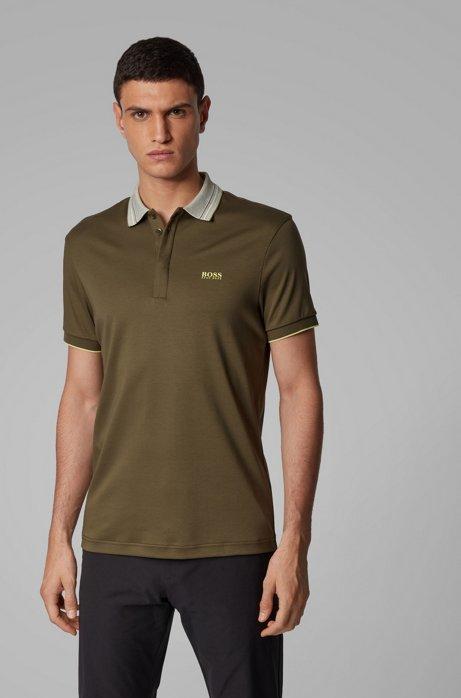 Poloshirt aus Interlock-Baumwolle mit mehrfarbigem Kragen, Dunkelgrün