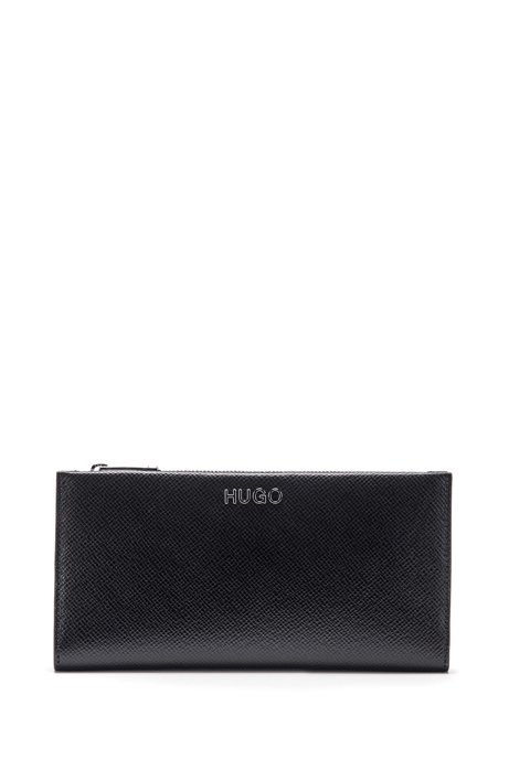Saffiano-leather wallet with logo lettering and zipped pocket, Black