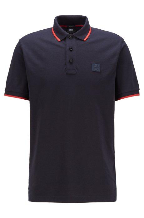 Poloshirt mit Silikon-Logo, Dunkelblau