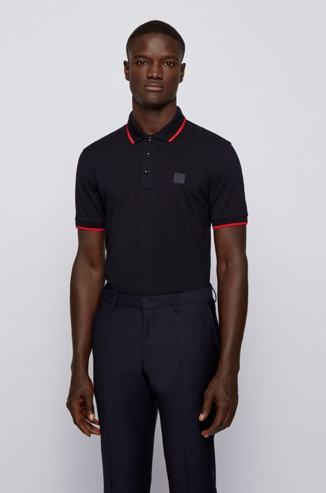 Regular-fit polo met siliconen logo, Donkerblauw
