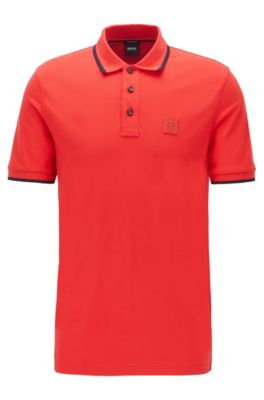 Polo Regular Fit avec logo en silicone, Rouge
