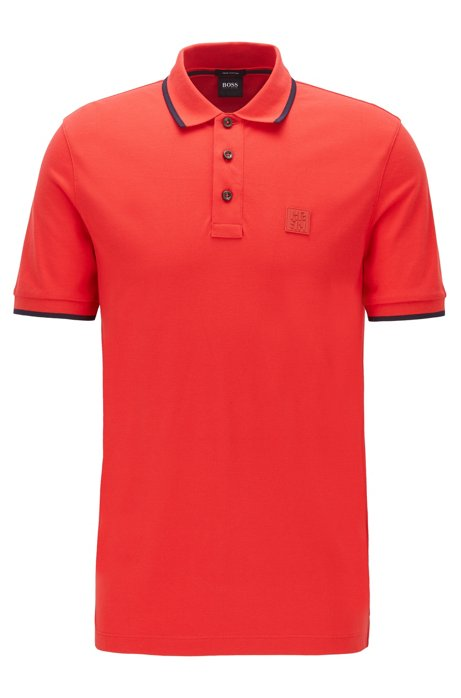 Regular-fit polo shirt with silicone logo, Red