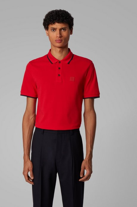 Regular-fit polo met siliconen logo, Rood