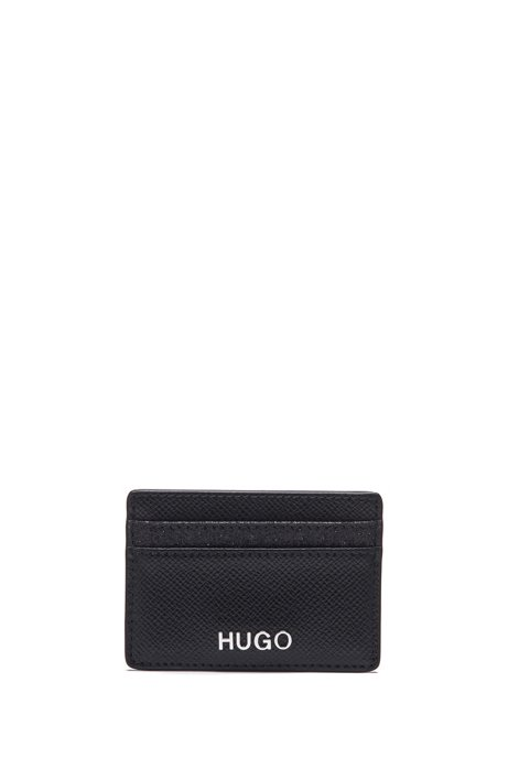 Italian-leather card holder with sparkly contrasts, Black