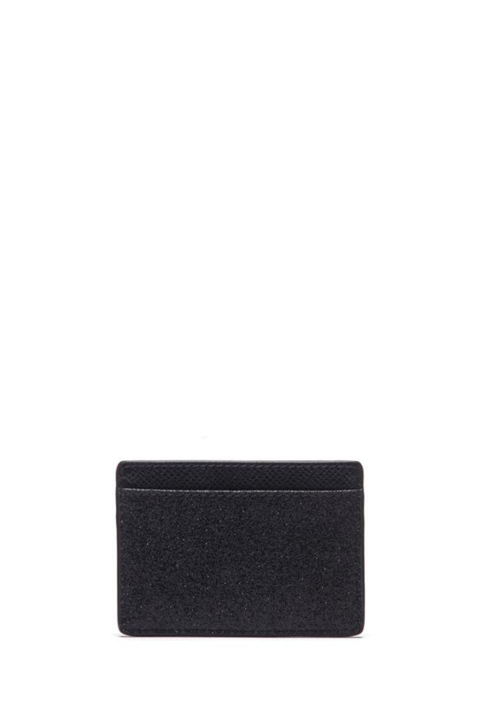 Porte-cartes en cuir italien orné de détails brillants contrastants