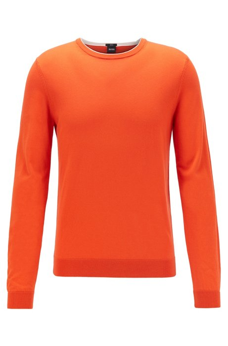Slim-fit sweater in pure cotton jersey , Orange