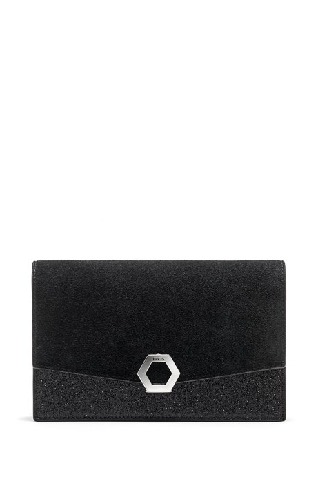 Split-leather clutch bag with glitter-fabric contrasts, Black
