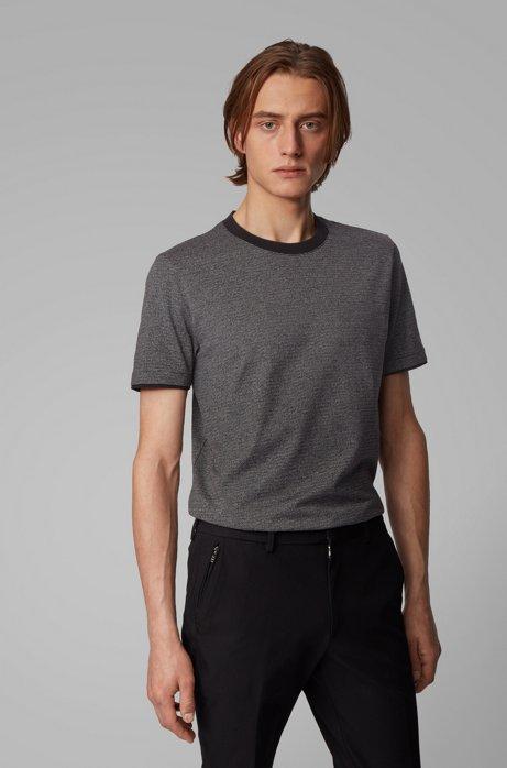 T-Shirt aus Mouliné-Baumwolle mit Kontrast-Details, Schwarz