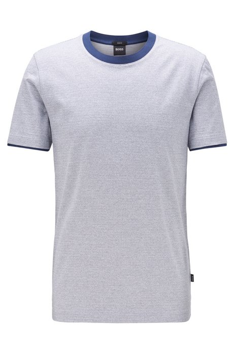 Slim-fit T-shirt in mouliné cotton with contrast trims, Dark Blue