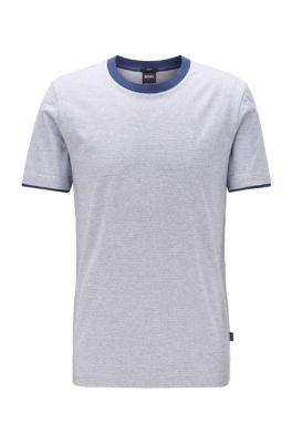 T-Shirt aus Mouliné-Baumwolle mit Kontrast-Details, Dunkelblau