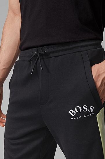男士撞色细节弧形徽标修身短裤,  002_黑色