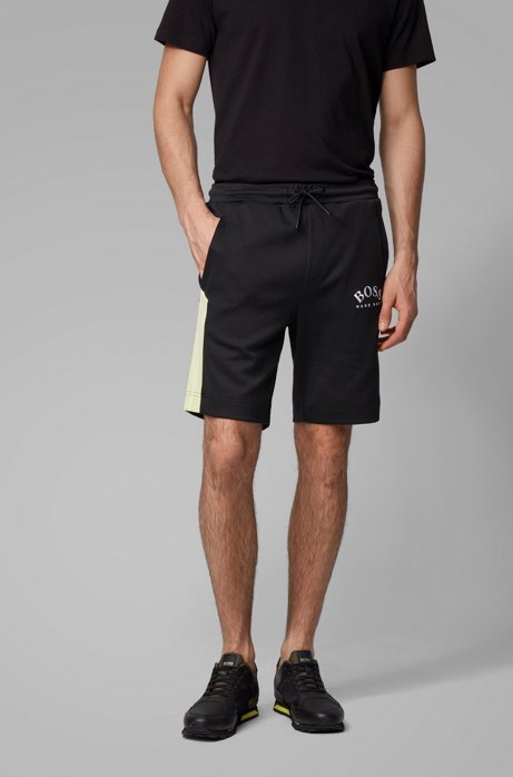 Slim-fit shorts with contrast details and curved logo, Black