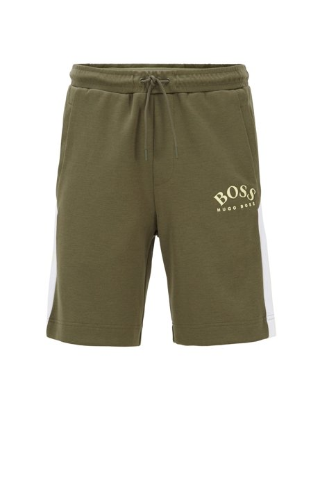 Slim-fit shorts with contrast details and curved logo, Dark Green