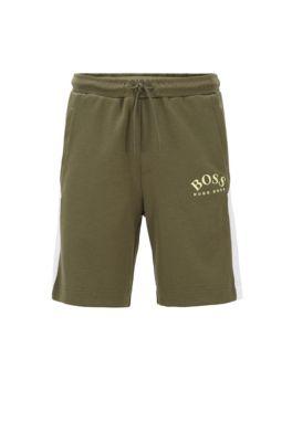 Slim-fit short met contrastdetails en gebogen logo, Donkergroen