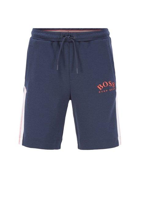 Slim-fit short met contrastdetails en gebogen logo, Donkerblauw