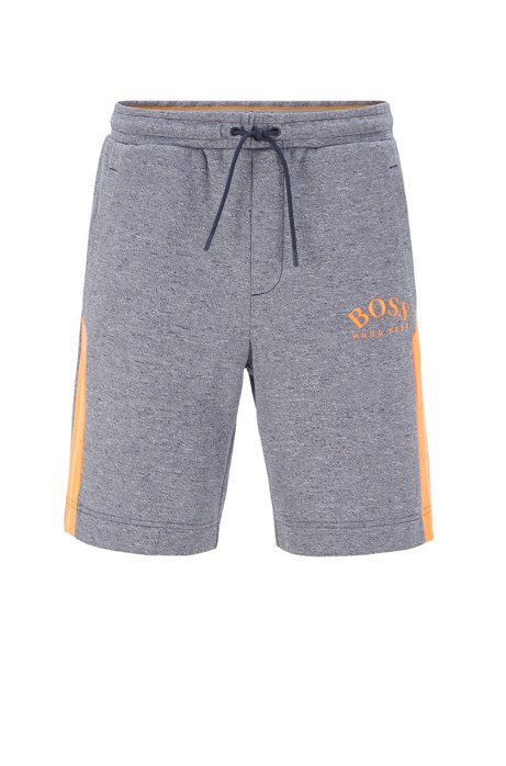 Slim-fit shorts with contrast details and curved logo, Dark Blue