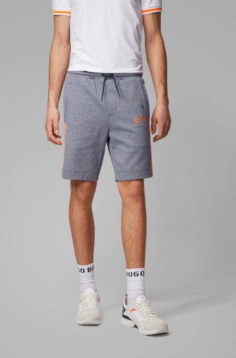 Slim-Fit Shorts aus Jersey mit Kontrast-Details und geschwungenem Logo, Dunkelblau