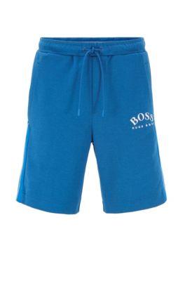 Slim-Fit Shorts aus Jersey mit Kontrast-Details und geschwungenem Logo, Blau