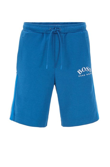 Slim-fit shorts with contrast details and curved logo, Blue