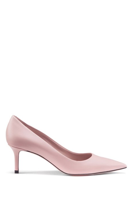 Italian-leather pumps with pointed toe, light pink