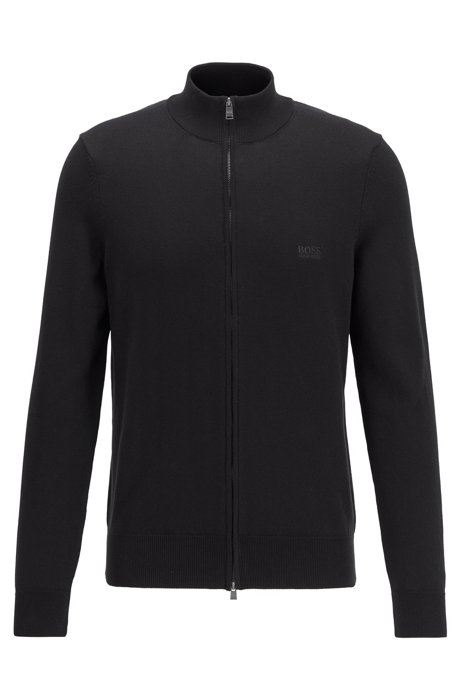 Zip-through cardigan in cotton with embroidered logo, Black