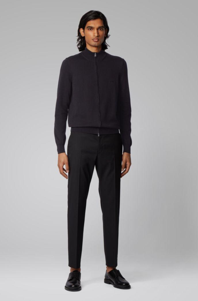 Cardigan zippé en coton avec logo brodé