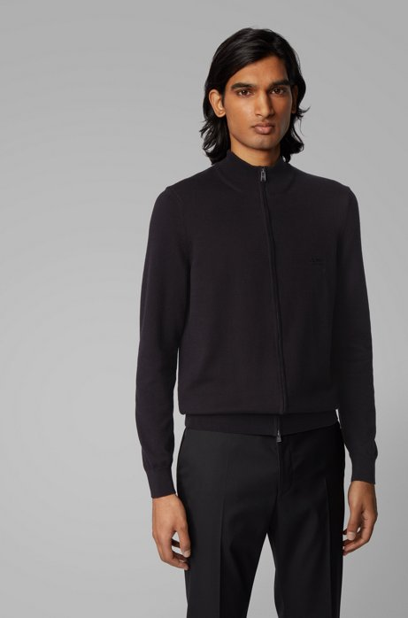 Cardigan zippé en coton avec logo brodé, Noir