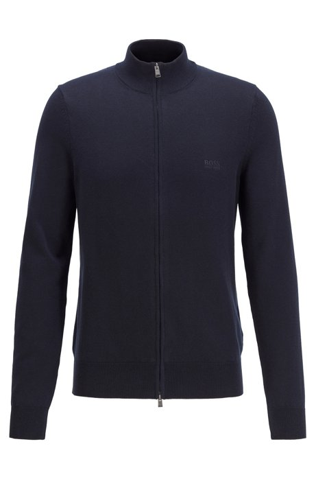 Zip-through cardigan in cotton with embroidered logo, Dark Blue