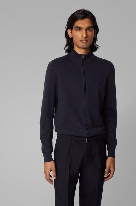 Zip-through cardigan in cotton with embroidered logo, Dark Blue