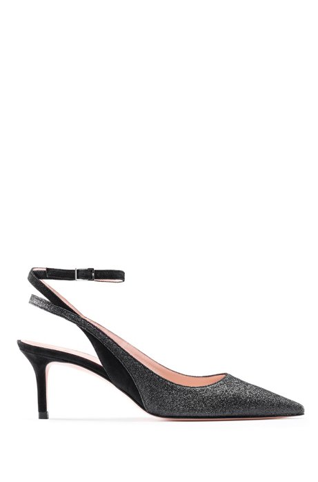 Italian-made slingback pumps in suede and glitter fabric, Black