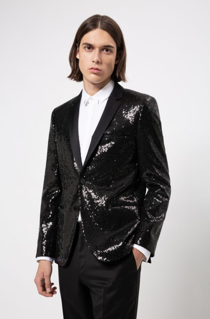 Extra-slim-fit evening jacket with all-over sequins