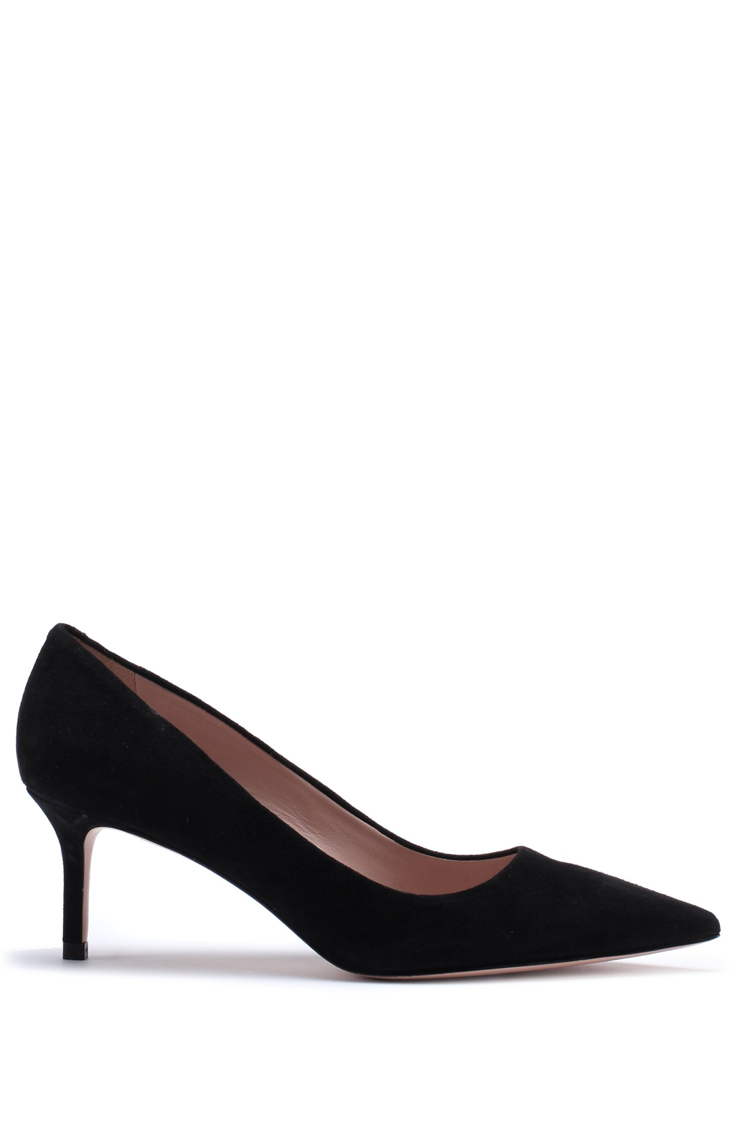 Italian-suede pumps with pointed toe, Black